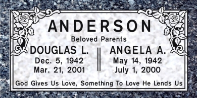 CF-5010 Blue Pearl Grave Marker Headstone Deep Carved Sanded Panel Engraving  Serving California