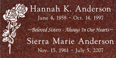 CF-5027 Red Grave Marker Headstone Standard Engraving  Serving California