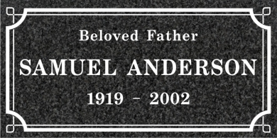 SF-1042 Imperial (Oxford) Grave Marker Headstone Standard Engraving  Serving California