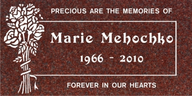 SF-1023 Red  Grave Marker Headstone Standard Engraving  Serving California