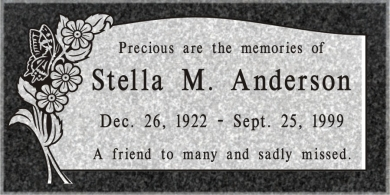 SF-1028 Imperial (Oxford) Grave Marker Headstone Deep Cut Sanded Panel Engraving  Serving California