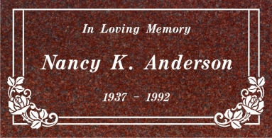SF-1032 Red  Grave Marker Headstone Standard Engraving  Serving California