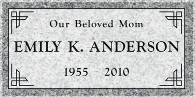 SF-1050 Light Gray Grave Marker Headstone Deep Cut Sanded Panel Engraving Serving California