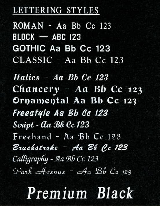 Headstone Lettering Examples