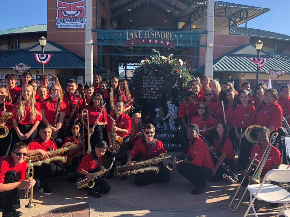 Veterans Day Honoring Lake Elsinore California Jeannine Mehochko and Elsinore Middle School Roar Band